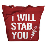 I Will Stab You Tote Bag - Red - 8