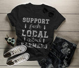 Women's Hipster Support Local Farmers T-Shirt Vintage Farming Shirt-Shirts By Sarah
