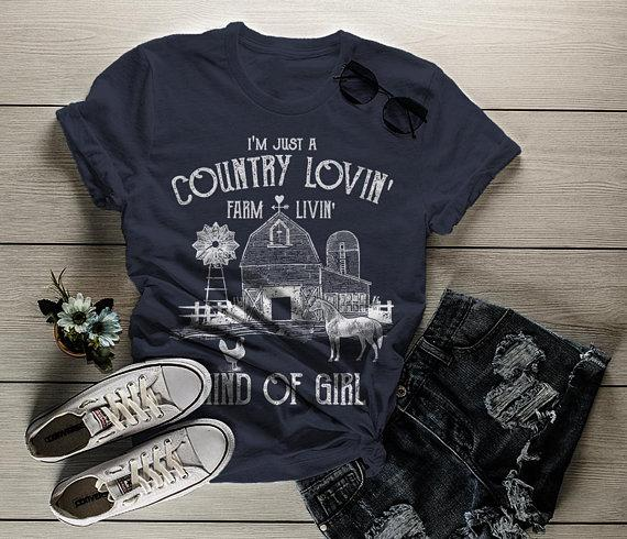 Women's Farm T-Shirt Country Lovin' Livin' Vintage Farming Loving Living Barn Shirt Tee-Shirts By Sarah