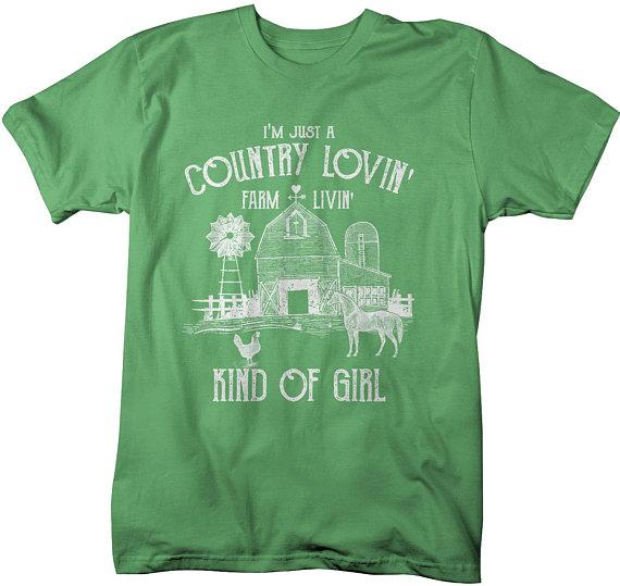 Men's Farm T-Shirt Country Lovin' Livin' Vintage Farming Loving Living Barn Shirt Tee-Shirts By Sarah