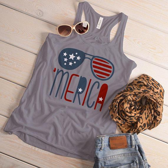 Women's 'Merica Flowy Tank Glasses Hipster Independence 4th July Tanks Racerback-Shirts By Sarah