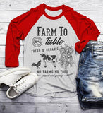 Men's Farm To Table T-Shirt Farmers Cow Chicken Corn Farming 3/4 Sleeve Raglan-Shirts By Sarah