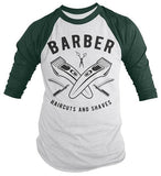 Men's Barber T-Shirt Haircuts & Shaves Vintage Razor Clippers Shirt For Hipster Barbers Raglan 3/4 Sleeve-Shirts By Sarah