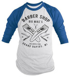 Personalized Men's Barber Clippers Raglan Barbers Shirts Vintage Custom Shirt 3/4 Sleeve-Shirts By Sarah