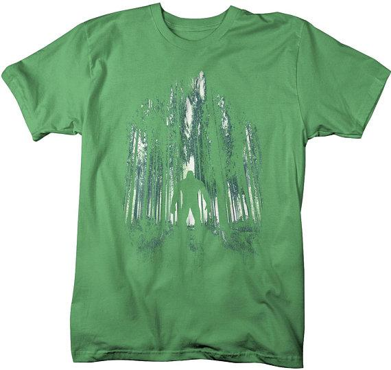 Men's Cool Bigfoot T-Shirt Forest Sasquatch Tee Grunge Hide Seek Hipster-Shirts By Sarah