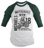 Men's Personalized Motocross Raglan Mom Dirt Bike Race Racing Custom Shirt 3/4 Sleeve-Shirts By Sarah
