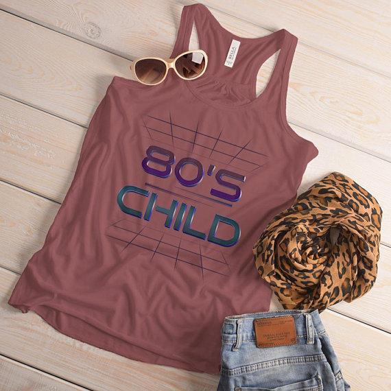 Women's 80's Child Flowy Tank Retro Born In Birthday Vintage Tubular Cool Tanks Racerback-Shirts By Sarah