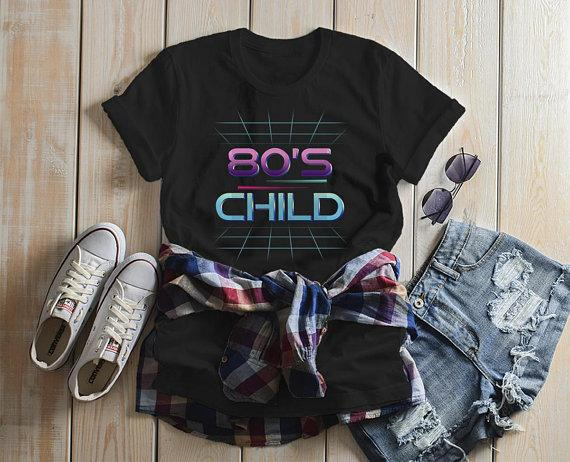 dc8eb0b00 Women's 80's Child T-Shirt Retro Shirt Born In Birthday Tee Vintage Tubular  Cool-
