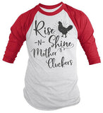 Men's Funny Vintage Chicken Raglan Rise Shine Mother Cluckers Shirt Farming 3/4 Sleeve-Shirts By Sarah