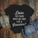 Women's Cute Baby Reveal Idea T-Shirt Does Shirt Make Me Look Like Grandma Expecting Tee-Shirts By Sarah