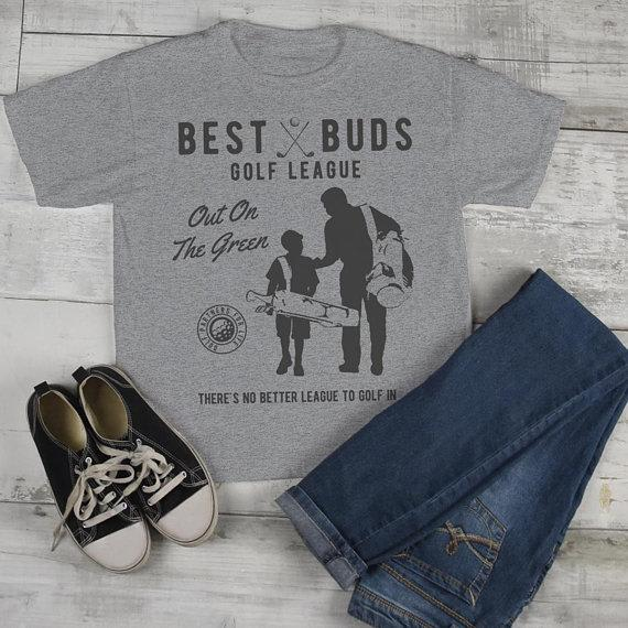Boy's Best Buds Golf League T-Shirt Matching Father Son Shirt Grandpa Tees-Shirts By Sarah