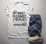 Men's Funny Opportunist T-Shirt Pessimist Realist Optimist Glass Dilemma Shirt-Shirts By Sarah