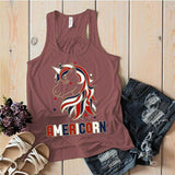 Women's Patriotic Americorn Flowy Tank America Unicorn American 4th July Hipster Tanks Racerback-Shirts By Sarah