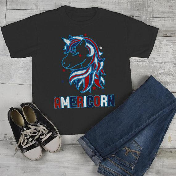 47fb7e072 Kids Patriotic Americorn T-Shirt America Unicorn Tee American 4th July  Hipster Shirt-Shirts
