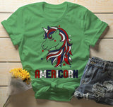 Men's Patriotic Americorn T-Shirt America Unicorn Tee American 4th July Hipster Shirt-Shirts By Sarah