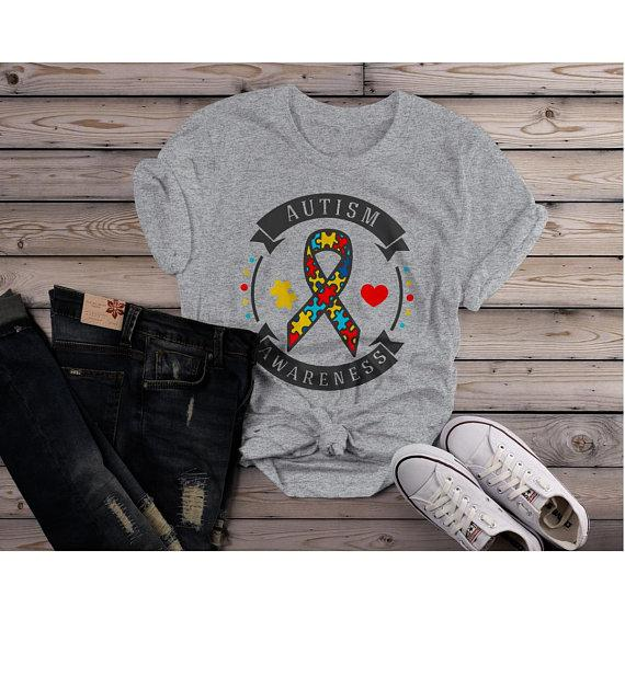 Women's Autism Awareness Shirt Puzzle Ribbon Autism Shirt Heart Support Tee-Shirts By Sarah