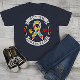 Kids Autism Awareness Shirt Puzzle Ribbon Autism Shirt Heart Support Tee-Shirts By Sarah