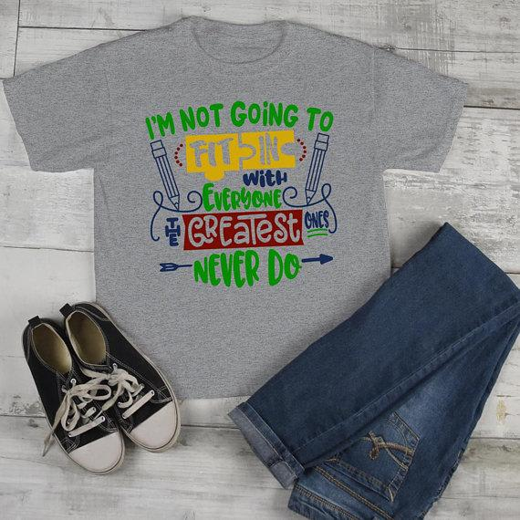Kids Autism Shirt Puzzle TShirt Not Fit In Greatest Never Do Boy's Girls Cute Autism Support Tee-Shirts By Sarah