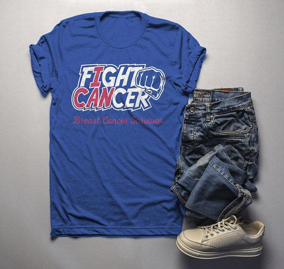 Men's Breast Cancer T Shirt Survivor Shirt I Can Fight Cancer Pink Ribbon Awareness Tee-Shirts By Sarah