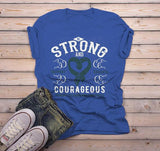 Men's Strong & Courageous Scleroderma Awareness T Shirt Teal Ribbon Scleroderma Shirt-Shirts By Sarah