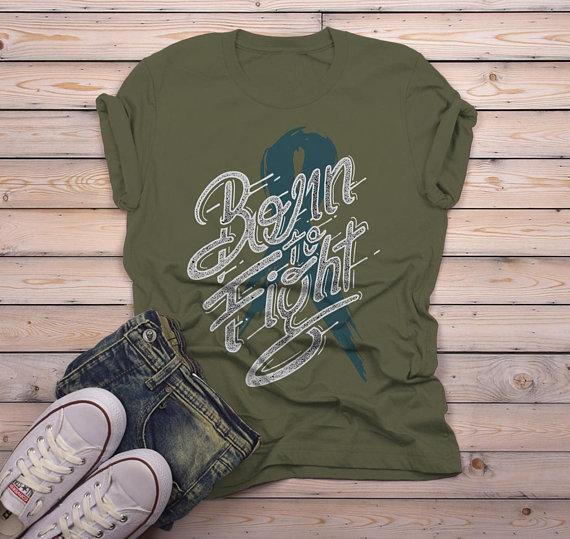 Men's Born To Fight T Shirt Teal Ribbon Shirt Awareness Grunge Tee-Shirts By Sarah