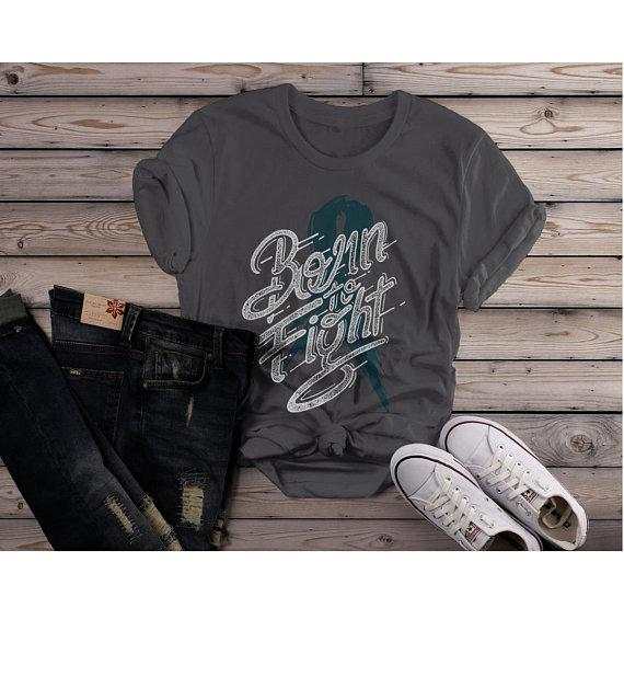 Women's Born To Fight T Shirt Teal Ribbon Shirt Awareness Grunge Tee-Shirts By Sarah