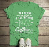 Men's Nurse T Shirt Funny Coffee Shirt Day Without Nurses Gift Idea Graphic Tee-Shirts By Sarah