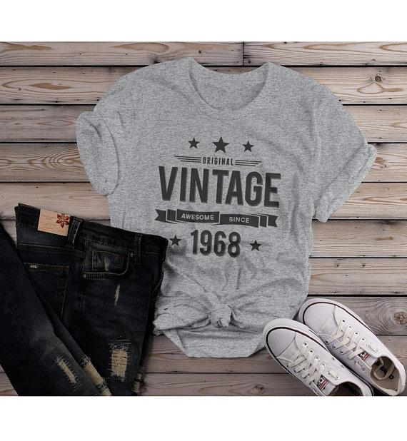 Women's 50th Birthday T Shirt Original Vintage Shirt Awesome Since 1968 Tshirt-Shirts By Sarah