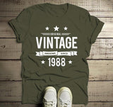 Men's 30th Birthday T Shirt Original Vintage Shirt Thirty Awesome Since 1988 Tshirt-Shirts By Sarah