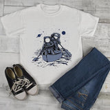 Kids Astronaut T Shirt Rowing Through Space Graphic Tee Journey Geek Shirt Nerd Shirts-Shirts By Sarah