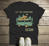 Men's Camping T Shirt Pop Up Van Retro Shirt Adventure Begin Tshirt Explore Nature Graphic Tee-Shirts By Sarah