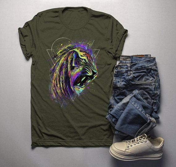 Men's Grunge T Shirt Tiger Shirt Tigers Wildlife Graphic Tee Artistic Shirts Hipster Clothing-Shirts By Sarah