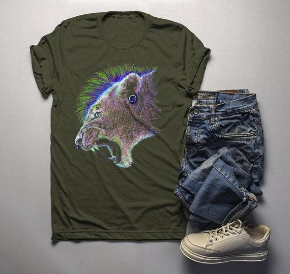 Men's Grunge T Shirt Lion Shirt Mountain Lions Graphic Tee Artistic Shirts Mohawk Punk-Shirts By Sarah