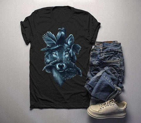 Men's Hipster T Shirt Wolf Shirt Symbiotic Nature Graphic Tee Birds Shirts-Shirts By Sarah