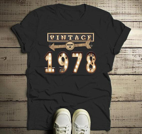Men's Vintage T Shirt 1978 Birthday Shirt 40th Birthday Tee Light Bulb Marquee Sign Retro Gift Idea-Shirts By Sarah