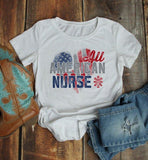 Women's Nurse T Shirt All American Shirt Nurse Tee Nurses Shirts Caduceus Patriotic Graphic Tee Flag-Shirts By Sarah