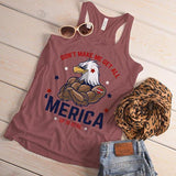 Women's 'Merica Tank Eagle Shirt Patriotic Graphic Top Don't Make Me Get All Merica Hipster Shirts 4th July-Shirts By Sarah