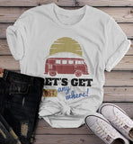 Women's Vintage Van T Shirt Camping Shirts Let's Get Lost Graphic Tee Travel Road Trip TShirt-Shirts By Sarah