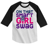 Girl's Funny T shirt Back To School Raglan Smart Girl Swag Science Shirts Cute Girls Shirts By Sarah-Shirts By Sarah