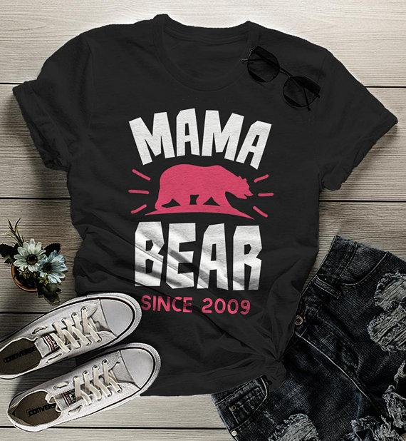Women's Personalized Mama Bear T Shirt Mom Since Shirts Custom Graphic Tee Mother's Day-Shirts By Sarah