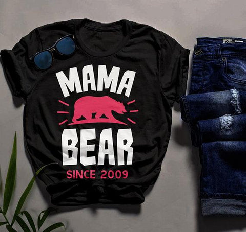 Men's Personalized Mama Bear T Shirt Mom Since Shirts Custom Graphic Tee Mother's Day-Shirts By Sarah