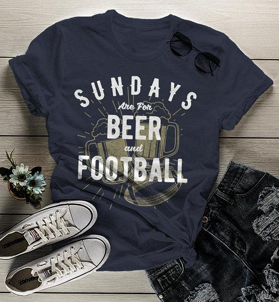 Women's Football T Shirt Sundays Are For Tshirt Football Beer Shirts Vintage Graphic Tee-Shirts By Sarah