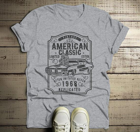 Men's 1968 T Shirt American Classic Shirts Muscle Car TShirt Graphic Tee 50th Birthday-Shirts By Sarah