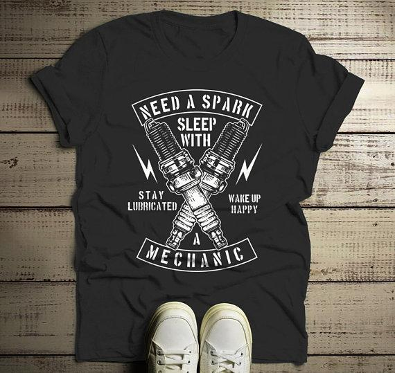 d48bf8394 Men's Funny Mechanic T Shirt Sleep With Shirts Stay Lubricated Spark Plugs  Graphic Tee-Shirts