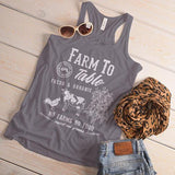 Women's Vintage Farm To Table Flowy Tank Farmers Cow Chicken Corn Farming Tanks Racerback-Shirts By Sarah