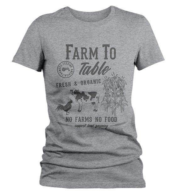 Women's Vintage Farm To Table T-Shirt Farmers Cow Chicken Corn Farming Tee-Shirts By Sarah