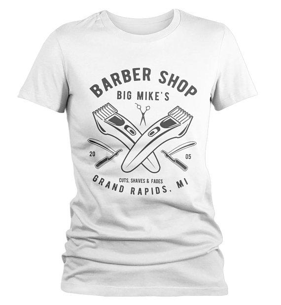 Personalized Women's Barber Clippers T-Shirt Barbers Shirts Vintage Custom Shirt Tee-Shirts By Sarah