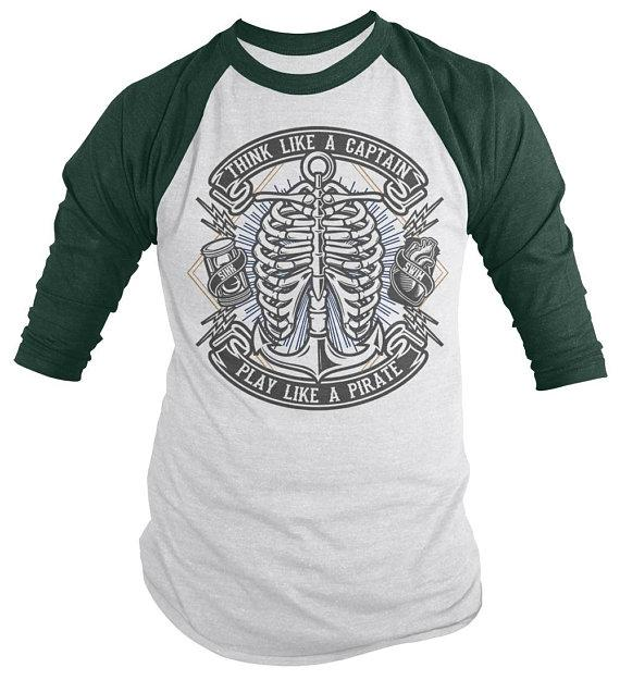 Men's Funny Pirate Skull Raglan Think Like Captain Play Like Pirate Anchor Shirt 3/4 Sleeve-Shirts By Sarah