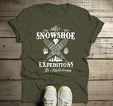 Men's Hipster Snowshoeing T shirt Snowshoe Expeditions Shirts Be Adventurous Vintage Graphic Tee-Shirts By Sarah