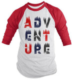 Men's Adventure Raglan Typography Camping Shirt Explore Tee Double Exposure 3/4 Sleeve-Shirts By Sarah